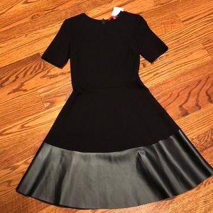 NWT Saks 5th Ave black dress leather Medium M